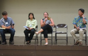 A panel discussed transportation issues in South Maui at the May 18 meeting of the K?hei Community Association. Pictured, left to right, are KCA moderator and President Jon Miller, Charlene Shibuya, Kathleen Kern and Milton Arakawa.