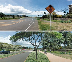To underscore the aesthetics of a landscaped transportation corridor, KCA President Jon Miller presented this photo of the L?loa-L?poa intersection near Safeway. The bottom photo shows a digitally altered view with landscaping and bike paths. Note that the stop sign has been removed in favor of a roundabout.