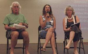 (Left to right) Mike Moran, Robin Knox and Irene Bowie addressed questions related to water quality and usage on Maui at the June 15 K?hei Community Association meeting